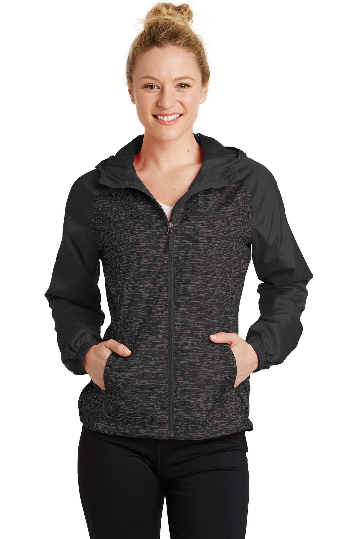 88b97d27 Sport-Tek ® Ladies Heather Colorblock Raglan Hooded Wind Jacket.  LST40Athletic/Warm-Ups, Corporate Jackets, Ladies, Ladies, Outerwear,  Outerwear, Rainwear