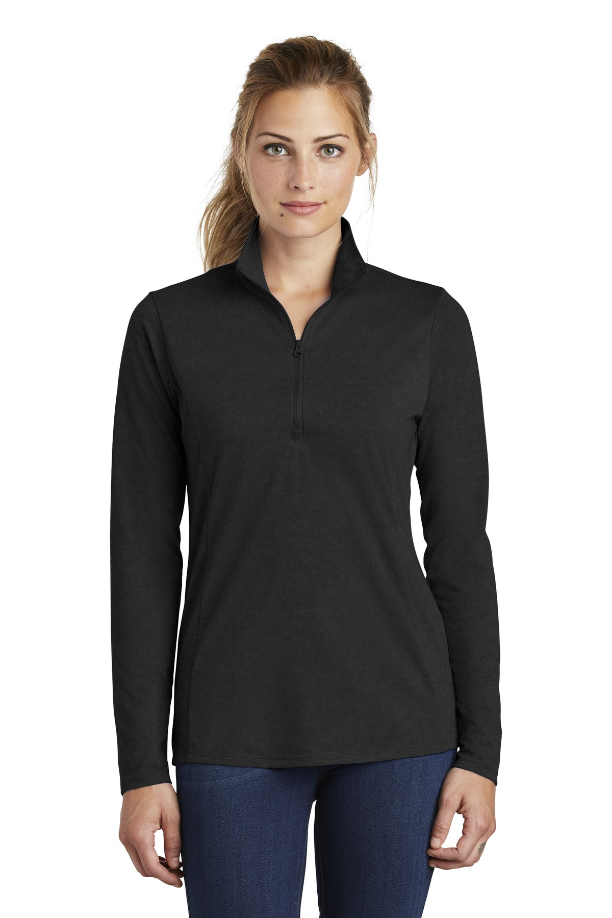 1558e2cf ... Sport-Tek ® Ladies PosiCharge ® Tri-Blend Wicking 1/4-Zip Pullover.  LST407. Previous; Next